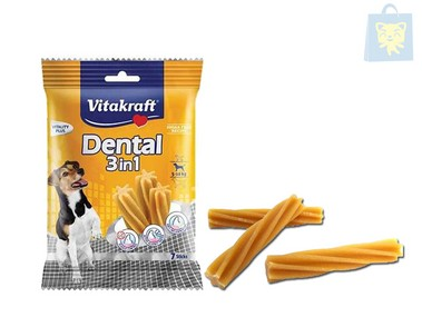 VITAKRAFT - SNACK DENTAL 3EN1 PERROS MEDIANOS (120g)