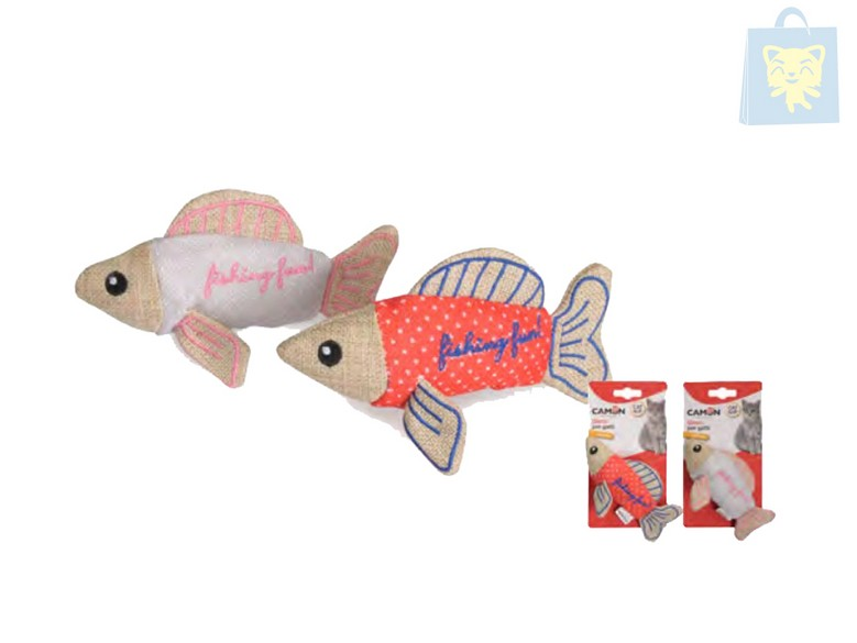 CAMON - TOY FISH WITH CAT NIP (15cm) (Various colors)