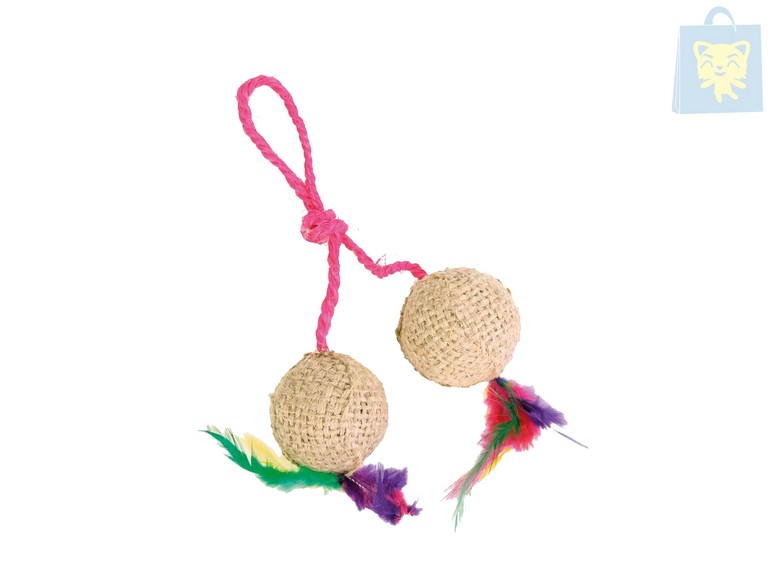TRIXIE - JUTE TOY 2 BALLS WITH ROPE (20cm)