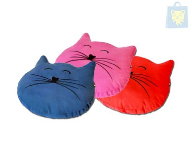 CAMON - CUSHION CAT´S FACE FUCHSIA (65x60cm)